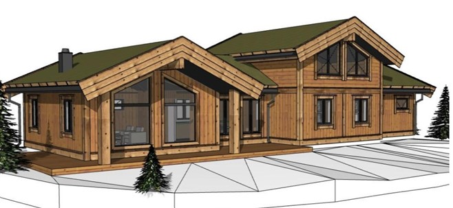 Illustrasjon av typiske hytter i stav laft